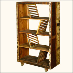 Rustic Washboards Reclaimed Wood 4-Shelf Open Back Bookcase -