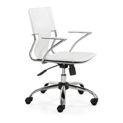 ZUO MODERN - Trafico Office Chair White - This fun and functional office chair combines a modern and transitional look. The Trafico office chair is made from a solid chrome frame, leatherette sling seat and arm pads, a chrome base, and an adjustable height mechanism.