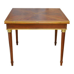 Ralph Lauren Flip-Top Game Table with Gold Leaf, Brass Finish & Navy Leather Top - Dimensions:L 38''  × W 38''  × H 32''