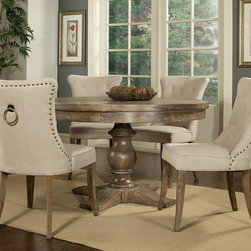Pastel Furniture - Pastel Kamioka 5 Piece Round Wood Top Dining Room Set - The Kamioka Collection features Utopia Wood Dining Table with 52 round Distress Charcoal wood top. It is paired with kamioka Side Chair that is finished in Distress Charcoal wood and elegantly upholstered in Cream My Linen.