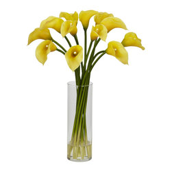 """Nearly Natural - Mini Calla Lily Silk Flower Arrangement - The Calla Lily is a centuries old favorite that hails from African origin.  The """"simple yet elegant"""" bulbs are bright and colorful, with large leaves and a thick stem.  The Calla Lily is truly a classic beauty, with an understated radiance. Whether it's for a dining room or a study, Calla Lilies will enhance the decor without dominating it. Comes complete with a beautiful vase with faux water."""