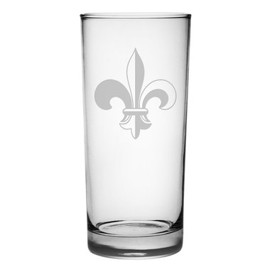 Susquehanna Glass - Fleur De Lis Hiball Glass, 15oz, S/4 - Each 15 ounce tumbler is sand etched with a fleur de lis design. Dishwasher safe. Sold as a set of four. Made and decorated in the USA.