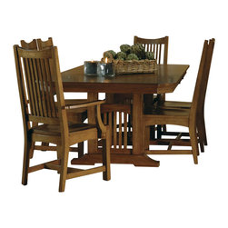 Hekman Furniture - Arts and Crafts Trestle Dining Set - Includes table, two arm and side chairs. Solid oak top. Two 15 in. filler leaves. Scooped wood seat. Warranty: One year. Made from oak solids with oak veneers. Mission pointe finish. Table minimum: 74 in. L x 44 in. W x 30 in. H. Table maximum: 104 in. L x 44 in. W x 30 in. H. Seat height: 17 in.. Seating area: 20.5 in. W x 17.25 in. D. Side chair: 20.5 in. W x 22.38 in. D x 41.75 in. H. Arm height: 25 in.. Seating area: 19.75 in. W x 16.5 in. D. Arm chair: 23.75 in. W x 22.6 in. D x 41.75 in. H