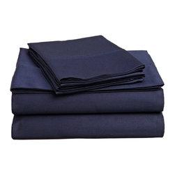 400 Thread Count Egyptian Cotton Cal. King Navy Blue Solid Sheet Set - 400 Thread Count Egyptian Cotton California King Navy Blue Solid Sheet Set
