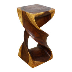 Kammika - Double Twist Stool Sustainable Wood 12 in SQ x 23 in H w eco friendly Walnut Oil - Our Sustainable Monkey Pod Wood Double Twist Stool 12 inch x 12 inch x 23 inch height with Eco Friendly, Natural Food-safe Livos Walnut Oil Finish is a visual delight in any setting. It has graceful one-quarter turns will add a sense of serenity and beauty to your home. You can use it as an end table, stand or stool; two together can serve as a striking coffee table. A single piece of Monkey Pod wood finished with Livos Walnut oil, these eco friendly functional art pieces are appealing to the viewer from any angle. Each piece is a Work of Art! Craftspeople from the Chiang Mai area in Northern Thailand create these pieces with the simplest of tools. Sustainable Monkey Pod wood (Acacia, Koa, Rain Tree grown for wood carving) is dried, carved, sanded, and rubbed in Livos Walnut oil polished to a water resistant and food safe matte finish. Color ranges from medium to dark Walnut brown tones that will darken as the wood ages. These natural oils are translucent, so the wood grain detail is highlighted. There is no oily feel, and cannot bleed into carpets. Made from the branches of the Acacia tree, where each branch is cut and carved to order (allowing the tree to continue growing), the wood is kiln dried, carved and sanded, creating a beautiful, sturdy and sustainable stool. We make minimal use of electric hand sanders in the finishing process. All products are dried in solar or propane kilns. No chemicals are used in the process, ever. Each eco friendly functional art piece is packaged with cartons from recycled cardboard with no plastic or other fillers. The color and grain of your piece of Nature will be unique, and may include small checks or cracks that occur when the wood is dried. Sizes are approximate. Products could have visible marks from tools used, patches from small repairs, knot holes, natural inclusions or holes. There may be various separations or cracks on your pi