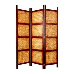 Oriental Unlimted - 6 ft. Tall Amakan Screen w 3 Panels - Screens may vary slightly in color. Handmade of Amakan. Bamboo slats woven into a basket-pattern. This room divider will add a lovely and interesting design element to any room. 18 in. L x 1 in. W x 72 in. H (each panel)