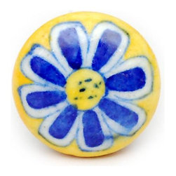 "Knobco - Single Flowers, Yellow, blue and white - Yellow, blue and white flower bathroom cabinet door knobs from Jaipur, India. Unique, round cabinet hardware for you bathroom cabinets. 1.5"" in diameter. Includes screws for installation."