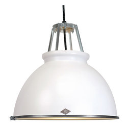 Original BTC - Titan 3 Pendant & Diffuser - White - Original BTC - We love the classic industrial look of the Titan Pendant. Designer Peter Bowles used an actual mold from the 1940's that produced these lamps for offices and factories at the time, but then he updated it for a more modern setting. We think it's an ideal choice for a kitchen, dining room, or workspace, since it is mostly downward lighting. But, if brightness isn't your thing, it comes with a frosted glass diffuser to give a softened, glowing light. The lamp is UL listed and suitable for commercial spaces. This lamp is the larger version of the Titan 1. Manufactured in a factory in the UK dedicated to green manufacturing practices.