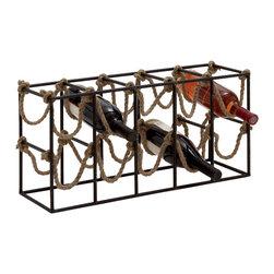 Exquisite and Uniquely Designed Metal Rope Wine Rack - Description: