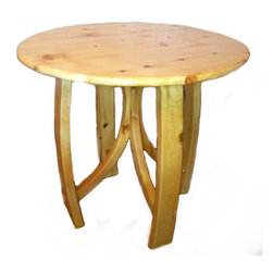 "Crafted Woods - Ancient Bristlecone Pine ""Circle"" Table Rustic Log - Our uniquely crafted Circle Side Table is made from Ancient Bristlecone Pine and will begin to darken over time to the rich color that is found in Bristlecone Pine."