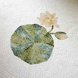 Lily Pad Stone Mosaic - Custom Lily Pad rug in Thassos, Spring Green, Chartreuse, Verde Luna, Rosa Portagallo, Crema Valencia, Sylvia Gold, Persian Gold.