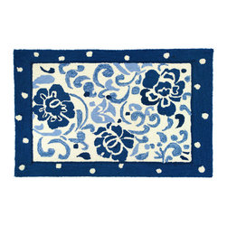 Homefires - Wedgewood Rug - Fine china designs, enlarged in textured wool look-alike form create this lovely and affordable rug. Bring out that wedding china and celebrate the everyday loveliness of this machine-washable, multiuse accent rug.