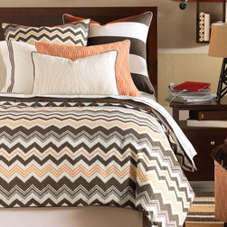 """Eastern Accents - Dawson Bedset - The handsome Dawson bed set creates a contemporary tone in orange, brown and ivory. This luxe bedding set utilizes chevron, dots and stripes for a playful design. Available in twin, full, queen, super queen, king, super king and Cal-king; Professional cleaning recommended; Bedding set includes:; Dawson Autumn duvet cover with Fullerton Espresso reverse, button closures and inside corner ties to attach comforter (not included); Alder Natural bed skirt with 16""""-25"""" drop, split corners and kick pleats; Fullerton/Alder euro sham with Fullerton Espresso reverse, cream cording and zipper closure; includes polyester fiber pillow insert; Holmes Mandarin standard or king sham with Alder Natural reverse, braided white cording and zipper closure; includes polyester fiber pillow insert; Alder Natural bolster pillow with Fullerton Espresso reverse and cording and zipper closure; includes polyester fiber pillow insert; Optional Dawson Autumn decorative euro pillow with Fullerton Espresso reverse and cording and zipper closure; includes polyester fiber pillow insert; Optional Dawson Autumn curtain panels with antique brass grommets for up to 1.5"""" Dia pole and 100% cotton drapery lining (available in 3 sizes); 95% light exclusion blackout lining and additional grommet finishes available by custom order, contact shop@zincdoor.com"""