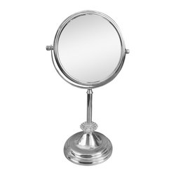 None - Free Standing Sunburst 5X Magnifying Makeup Mirror - The free standing mirror is perfect to use during makeup application and while plucking eyebrows. It features a chrome finish,acrylic sunburst at the base of the stand for added flair and 5X magnification to help you see more detail.