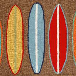 "Trans-Ocean - 24""x36"" Frontporch Surfboards Brown Mat - Richly blended colors add vitality and sophistication to playful novelty designs.Lightweight loosely tufted Indoor Outdoor rugs made of synthetic materials in China and UV stabilized to resist fading.These whimsical rugs are sure to liven up any indoor or outdoor space, and their easy care and durability make them ideal for kitchens, bathrooms, and porches. Made in China."