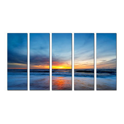Vibrant Canvas Prints - Canvas Prints, Framed Huge Canvas Print 5 Panel Sunset Sea Beach Decor Wall Art - This is a beautiful, 100% quality cotton canvas print. This print is perfect for any home or office, and will make any room shine with its addition of color and beauty.  - Free Shipping - Modern Home and Office Interior Decor   Seascape Island Canvas Designs - 5 Panel Print   Beach Island Scenery Print on Canvas - Wall Art - 30 Day Money Back Guarantee.