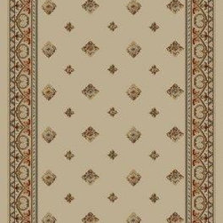 """Concord Global - Pin Dot Ivory 5'3""""X7'3"""" Rectangle Woven RugAnkara Collection - The Ankara collection is made of heavy heat-set olefin and has the look and feel of an authentic hand made rug at a fraction of the cost. New additions to the line include transitional patterns that are up to date in the current fashion trend. Made in Turkey"""