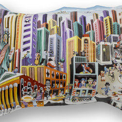 """ARTnBED - Funky Standard Sham - """"My New-York"""", A - 100% cotton sateen standard sham featuring a partial print of the painting """"My New-York"""" by the artist Yuval Mahler"""