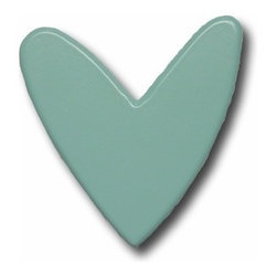 Aqua Heart Decorative Drawer Pulls By One World Kids - A sweet heart-shaped drawer pull.