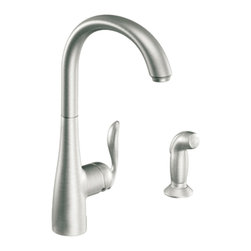 "Moen - Moen 7790CSL Arbor 1-Handle High-Arc Kitchen Faucet w/Spray (Stainless Steel) - Moen 7790CSL is part of the ARBOR collection. Moen 7790CSL has a Classic Stainless finish. Moen 7790CSL is a new style high Arc Kitchen faucet. Moen 7790CSL mounts in 1-hole thru 4-hole sinks, has an 8 1/8"" long and 15 1/2"" high arc spout, and a full 12 1/2"" from deck to aerator"" high arc spout rotates 360? providing ability to install handle on either side. Moen 7790CSL single lever handle provides ease of operation. Moen 7790CSL includes optional 3-hole escutcheon. Moen 7790CSL is part of the Arbor kitchen collection with lines that deliver streamlined and timeless transitional styling that are extremely flexible and friendly to use in any homes decor. Classic Stainless has a Lifeshine finish guarantee from Moen and provides style and durability. Moen 7790CSL metal lever handles meets all requirements of ADA ASME A112.18.1/CSA B125.1, NSF 61/9. Proposition 6"". Lifetime Limited Warranty."