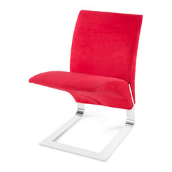 Zuri Furniture - Red Microfiber Bouncy Dining Chair - The name says it all. The whimsical Bouncy chairs uniform construction allows it to bounce up and down as you sit in it. Destined to become a conversation piece in any room, the The Bouncy contemporary chair is ideal for residential or commercial use. Features one piece chrome plated steel base, 300 lb. weight capacity, and suede microfiber available in multiple color choices.