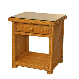 WickerParadise - Wicker 1 Drawer Nightstand - Elana - Beach-house inspired, you'll enjoy the way this simple  wicker nightstand lightens your bedroom. Framed in wood, it has a single drawer that glides in and out with just a touch.