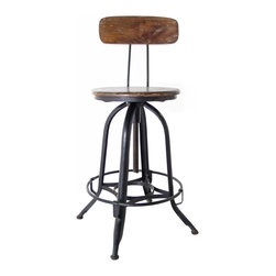Kathy Kuo Home - Architect's Industrial Wood Iron Counter Bar Swivel Stool with Back - This rustic industrial architect's stool has a gorgeous chestnut stained seat and back, which contrast beautifully with its dark metal base.  The stool swivels up or down depending on how tall you'd like to perch, and makes for stylish, functional seating at the bar or kitchen counter in your urban home.