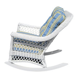 Other Brands - Spice Island Bar Harbor Wicker Rocker - BHR-W-PAD-SNBLU - Shop for Rocking from Hayneedle.com! Exuding elegance and a laid-back charm the Spice Island Bar Harbor Rocker perfectly balances casual comfort with upscale tropical chic. A great addition to traditional or contemporary settings it boasts a classic wicker/rattan weave with lattice design and braided trim detail in a choice of white or brown wash finishes. Plush cushions along with the generous comfy seat and supportive back let you sink into luxurious comfort; while a selection of designer fabrics enhances any setting or color scheme. Featuring a sturdy wood-and-rattan frame it sports a contoured back gently sloping arms and arched lattice-patterned apron - all of which add to its enduring appeal. Whether it's your living area or sunroom this rocker is sure to be the one place you make a beeline for when you return home at the end of a busy day.Additional Information:Seat height: 22 inches1-year manufacturer's warranty for residential useRecommended use: This arm chair is not designed for outdoor use. It is constructed of natural materials and will not withstand the elements. It's for indoor or sunroom use only.Please note: The cushion fabric shown in the picture may not be available.About Yesteryear WickerFrom small beginnings in 1987 Yesteryear Wicker now produces some of the highest quality wicker furniture in the world. The company began when founder Don Walker transformed his hobby of collecting antique wicker furniture into a thriving business. The company prides itself on keeping an American furniture tradition alive while honoring the skilled handicraft of the original Irish immigrants of yesteryear.
