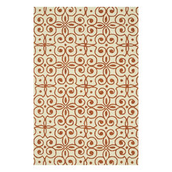 """Loloi Rugs - Loloi Rugs Ventura Collection - Ivory/Spice, 7'-6"""" x 9'-6"""" - Set the foundation for a beautiful outdoor arear with the well-designed Ventura Collection.  Hand-hooked in China of 100% polypropylene, Ventura's fresh geometric patterns and bright, on-trend colors will immediately update your patio or poolside with can't-miss style.  Each Ventura rug is specially treated to withstand UV rays, rain, mold, and mildew, so it'll remain bold and bright no matter what weather nature brings."""