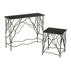 Cyan Design - Cyan Design Appalachian Console Table X-44710 - Subtle curvature extends outward from each leg, creating a contemporary branch inspired look to this Cyan Design console table. From the Appalachian Collection, this table features wrought iron construction and a beautiful granite top. The body is finished in Silver tones. Image shown with (CN-01746) Appalachian Side table