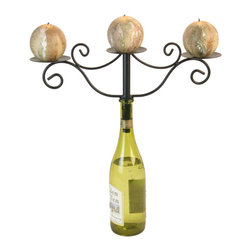 Danya B - Wrought Iron Attachable Three Candle Holder Wine Bottle Chandelier - This gorgeous Wrought Iron Attachable Three Candle Holder Wine Bottle Chandelier has the finest details and highest quality you will find anywhere! Wrought Iron Attachable Three Candle Holder Wine Bottle Chandelier is truly remarkable.
