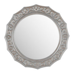 Safavieh - August Mirror - Feminine and romantic, the round August Lace mirror has the texture and detailing to dress up a traditional or transitional room in style.  This beautifully carved mirror is finished in a soft shade of gray for a refined and updated look.[This delicate and demure wall adornment will enhance a living room, bedroom or hall with its charm.]