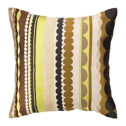 "Peking Handicraft Inc. - Trina Turk Vallejo Embroidered Pillow Brown DF 20"" x 20"" - ""20X20"""" 95% RAMIE 5% COTTON"""
