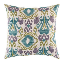 Surya - Surya Green & Blue Ikat Pillow - Bring something new to your life with this striking throw pillow from Surya. The 100% polyester cover is handmade in India, and is as soft as it is durable. It features an eye-catching ikat pattern of muted greens, blues, and purples over a warm papyrus background. A perfect accent piece for the sofa or bed. Available in multiple sizes100% polyesterHandcrafted in IndiaShips in 7-10 days