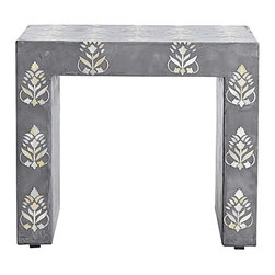 """Serena & Lily - Adana Inlay Side Table - I love this piece of furniture as a little table for the nursery. It makes a statement while keeping the room sweet. I also love that you can move it to another room in your home. It is definitely a """"forever"""" piece."""