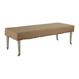 """Kathy Kuo Home - Alfreda French Country 55"""" L Burlap Bleached Wood Bench Ottoman - A size for any room in your home, the Alfreda Ottoman in burlap comes in 3 additional sizes. Finish is achieved through a method of hand bleaching creating subtle variations in color."""