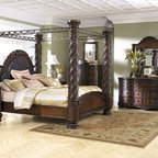 King North Shore Canopy Bedroom Set - This King size North Shore canopy bedroom set will turn any master bedroom into a masterpiece. The Dresser and Nightstands have marble tops. Set includes the Canopy king size bed, Dresser, Mirror, Chest, and two Nightstands.