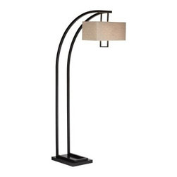 Pacific Coast Lighting Aiden Place Arc Floor Lamp - Oiled Bronze - Gracefully contemporary, the Pacific Coast Lighting Aiden Place Arc Floor Lamp - Oiled Bronze adds style and light to your home. Its arched shape is a perfect foil to the rectangular fabric shade.About Pacific Coast LightingPacific Coast Lighting was founded in 1979. Since then they have set a standard of excellence for the entire lighting industry. They have built a reputation for innovative design, quality workmanship, and market responsiveness. Pacific Coast Lighting has its own house brand and is the exclusive lighting and accessory manufacturer for several of today's prestigious lifestyle brands. Kathy Ireland Home and National Geographic Home collections are two of these well-respected lines.