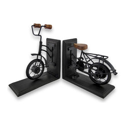 Vintage Bicycle Wood and Metal Bookends - This beautiful pair of metal and wood vintage bicycle bookends has a black enamel finish, artificially distressed to make them look old. Measuring 6 1/8 inches tall, 7 1/4 inches long, and 3 3/8 inches deep, they show excellent detailing, and add class and style to any bookshelf or table. This pair also makes a great present for the holidays or for housewarming gifts.