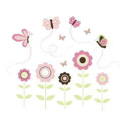 "WallPops - Butterfly Garden Wall Art Decal Kit - Make an enchanted scene on your baby's wall! The Butterfly Garden wall art kit makes a beautiful design of precious pink flowers and butterflies.  This darling look will grow with your child for an enduringly sweet decor focal point. This wall decal kit also includes three 3-D butterflies for an added dimension of fashion. The kit comes with 3 sheets of stickers to bring your 47""h x 56""w Butterfly Garden to life!"