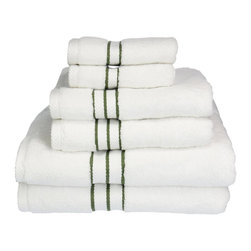 """900 GSM Hotel Collection 6 Piece Towel Set, Forest Green - These ultra-soft towels create a spa experience. These updated 900 GSM towels feature triple stripes in the center of the towel and a hanging hook for easy hanging. Treat yourself to this lush, beautiful towel set for an easy way to revitalize your bath decor. This towel can also be found in various other colors. Set includes two bath towels 30""""x55"""" each, two hand towels 20""""x30"""" each, and two face towels 13""""x13"""" each."""