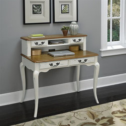 HomeStyles - Oak and Rubbed White Student Desk and Hutch - The student desk is constructed of poplar solids, engineered wood and oak veneers in a distressed oak and heavily rubbed white finish. The distressed oak features several distressing techniques such as worm holes, fly specking, and small indentations. Features include four storage drawers, one center shelf, and cable access through hutch. Design features include shaped carved proud legs, corner peg accents, and detailed brass hardware. Assembly required. 42 in. W x 24 in. D x 40 in. H