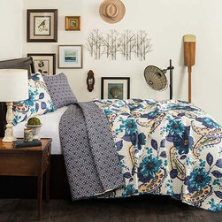 Lush Decor - Floral Paisley Blue Three-Piece Full/Queen Quilt Set - - Who says paisley and flowers don?t mix, they have never seen this stunning combination. This reversible quilt features a complimentary color on the reveries side to enhance the eye catching floral paisley pattern  - Set Includes: 1 Quilt and 2 shams  - Sham Dimensions:  20-Inch H x 26-Inch W  - Fill Content: 100% Polyester  - Care Instructions: Machine Wash Cold, Gentle Cycle, Only Non Chlorine Bleach When Needed, Tumble Dry Low and Cool iron if needed Lush Decor - C25710P14-000