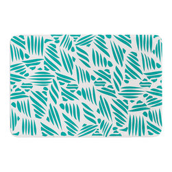 "KESS InHouse - Pom Graphic Design ""Bamboo"" Teal Green Memory Foam Bath Mat (24"" x 36"") - These super absorbent bath mats will add comfort and style to your bathroom. These memory foam mats will feel like you are in a spa every time you step out of the shower. Available in two sizes, 17"" x 24"" and 24"" x 36"", with a .5"" thickness and non skid backing, these will fit every style of bathroom. Add comfort like never before in front of your vanity, sink, bathtub, shower or even laundry room. Machine wash cold, gentle cycle, tumble dry low or lay flat to dry. Printed on single side."