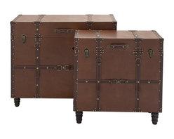 Classic Wood Leather Trunk Table, Set of 2 - Description: