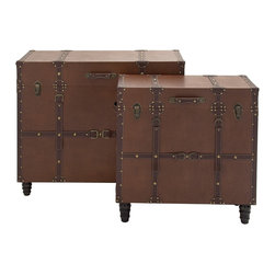 Classic Wood Leather Trunk Table, Set of 2 - Description: