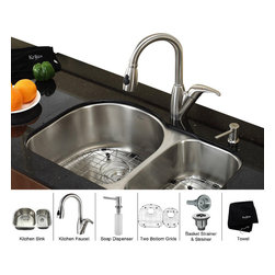 Kraus - Kraus 30 inch Undermount Double Bowl Stainless Steel Kitchen Sink with Kitchen F - *Add an elegant touch to your kitchen with unique Kraus kitchen combo