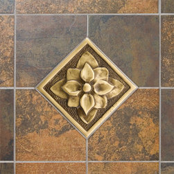 "4"" Solid Brass Wall Tile with Dogwood Flower Design - Featuring a beautiful dogwood flower design, this wall tile is a charming accent for any kitchen or bath. It is made of solid brass and is offered with an optional tile frame."