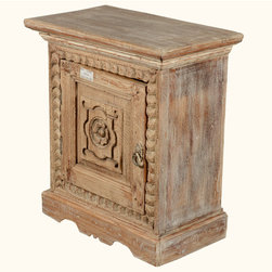 Winter White Primrose Reclaimed Wood Night Stand End Table Cabinet - Enjoy the hand crafted details of our Winter White Primrose Mini Cabinet. This solid hardwood end table features a door with a hand carved center design of a single primrose which opens onto a two shelf cabinet.