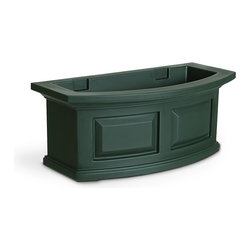 "Mayne Inc. - Nantucket Window Box 2FT Green - The Nantucket window box features a bowed front, raised panel design, pronounced crown molding detail and built-in overflow drains. Sub-irrigation water system, encourages root growth. Our molded plastic planters are made from high-grade polyethylene, double wall design. Includes 2 steel wall mount brackets with a black powder coated finish. Inside dimensions are 20""L x 8""W x 7.5""D, holds approx. 2.5 gallons of soil. Water reservoir capacity is approximately 1.6 gallons (6 Liters), holds approx 5 gallons of soil.  Optional decorative brackets add a beautiful finishing touch, sold separately (model # 4828). 15-year limited warranty."